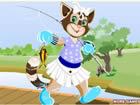 美麗貓咪釣魚