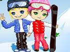 情侶雪山滑雪